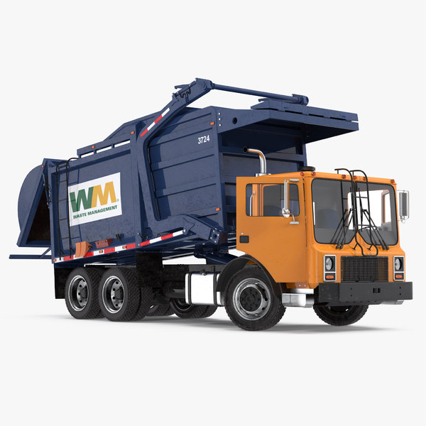 mack garbage truck rigged 3D model