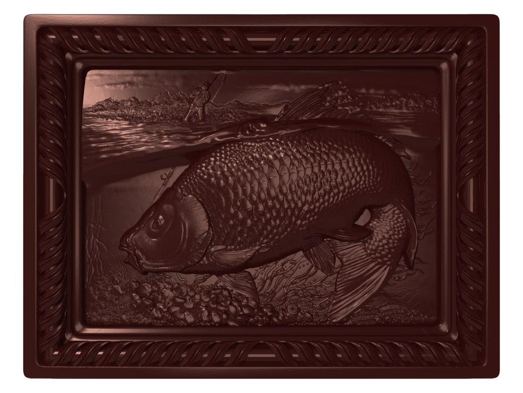 bas relief carp fishing 3D model