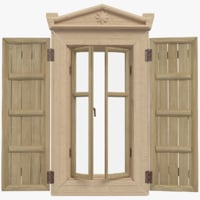 3D village wooden window