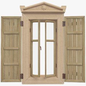 3D village wooden window