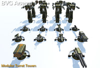 3D modular turret tower model