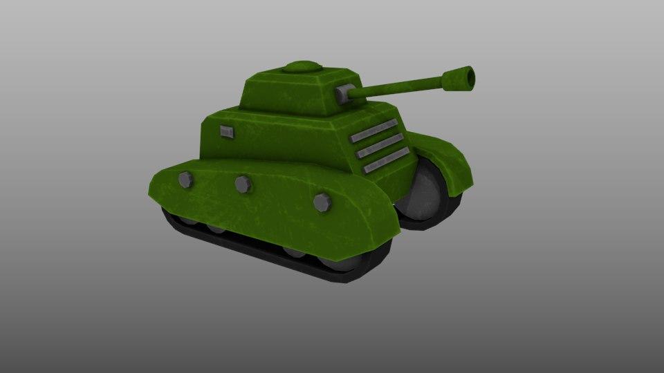 low-poly tank ready mobile 3D model
