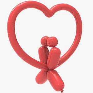 poodle heart balloon 3D model
