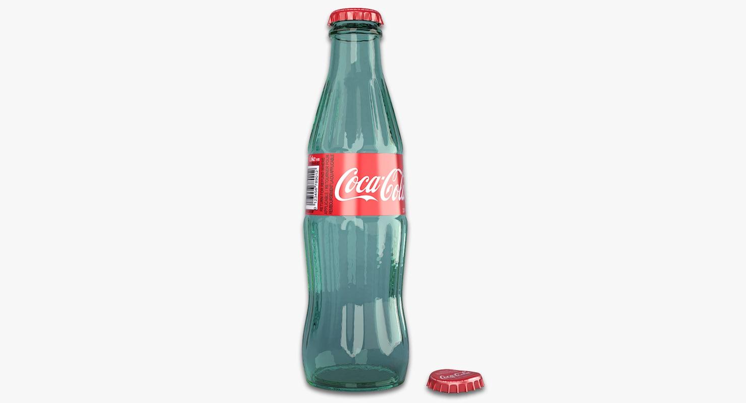 3D model glass coke bottle