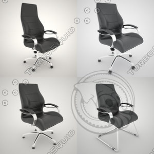 6 kind office chairs 3D model