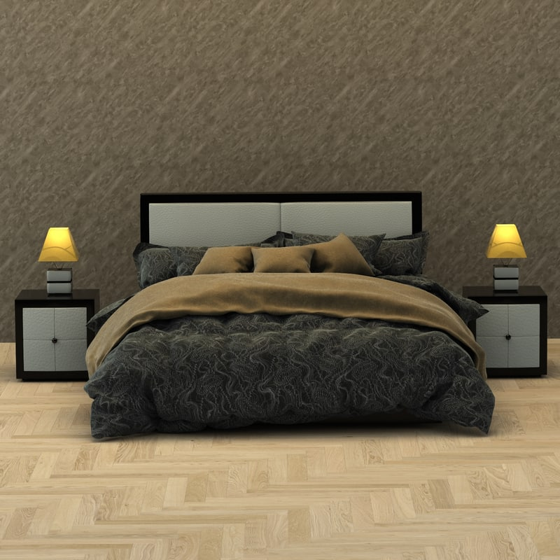 3D realistic modern bed model