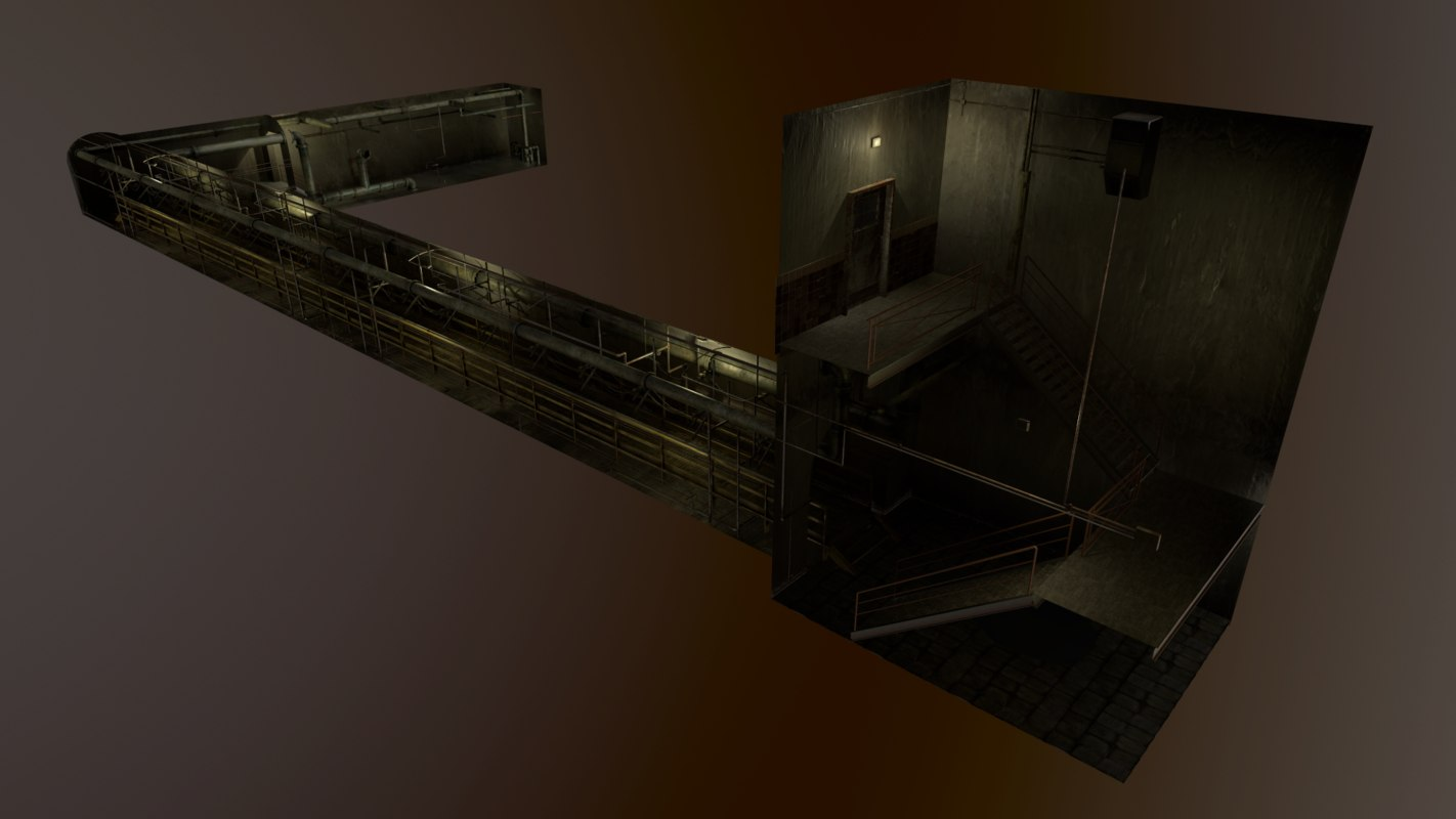 basement tunnel 3D model