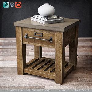 mercantile 24in open nightstand 3D model