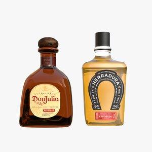 tequila bottles 3D model