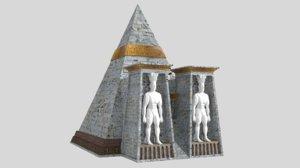 fantasy pyramid male statues 3D