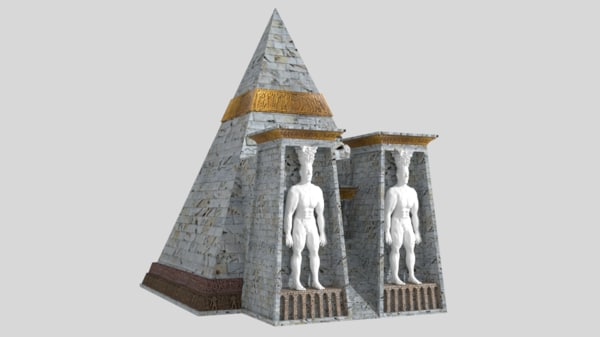 fantasy pyramid male statues 3D