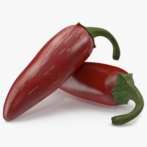 red jalapenos hot pepper 3D model