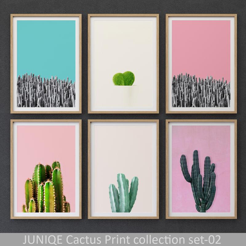 3D juniqe cactus print framed model