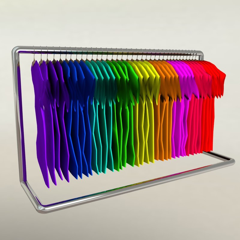 3D colorful t-shirts rack