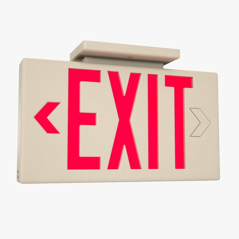 exit sign 3D