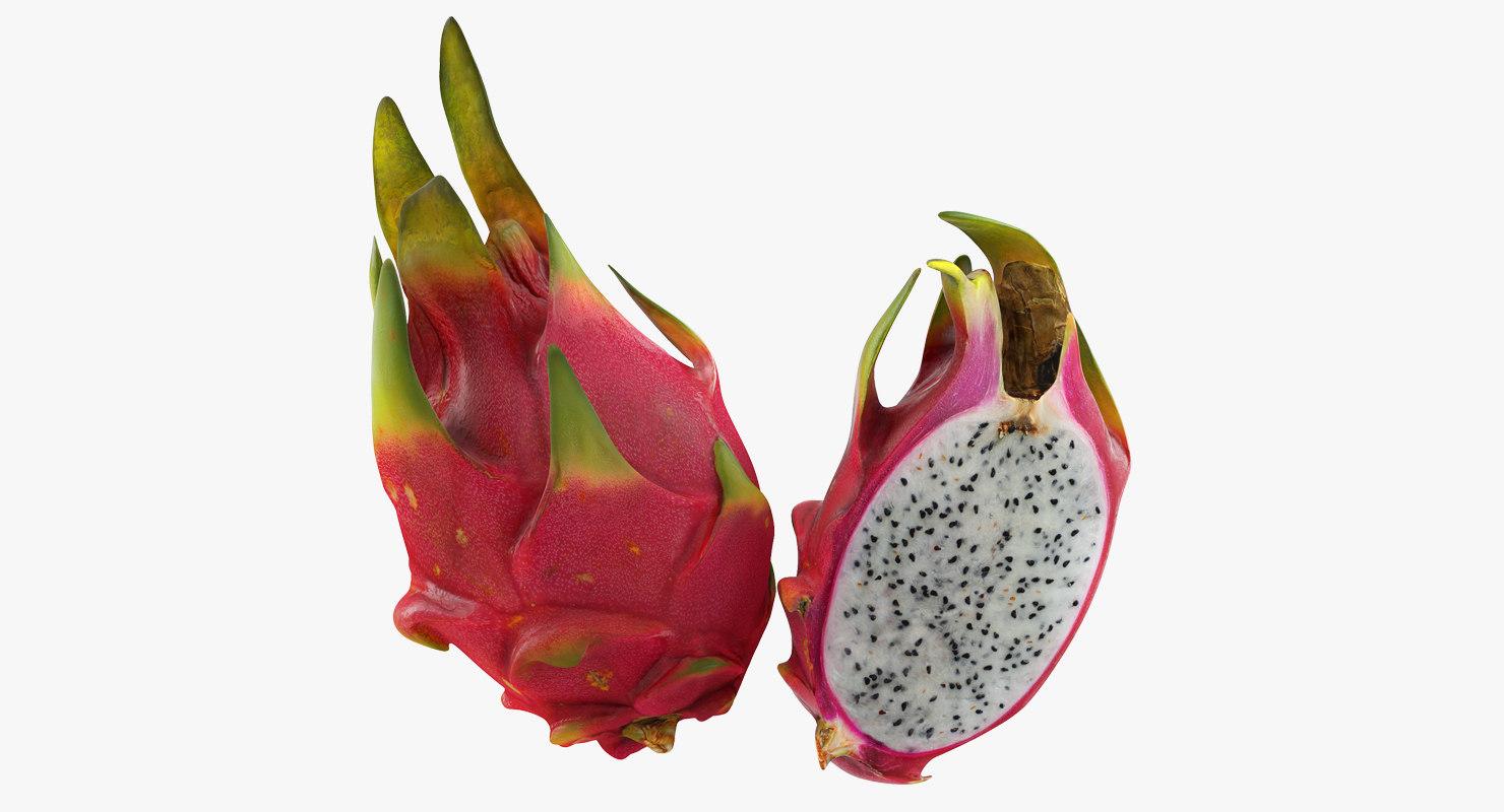 3D half red dragon fruits