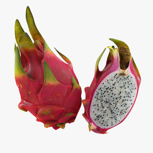 3D half red dragon fruits