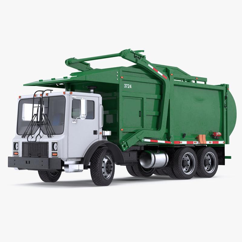 3D model trash truck generic