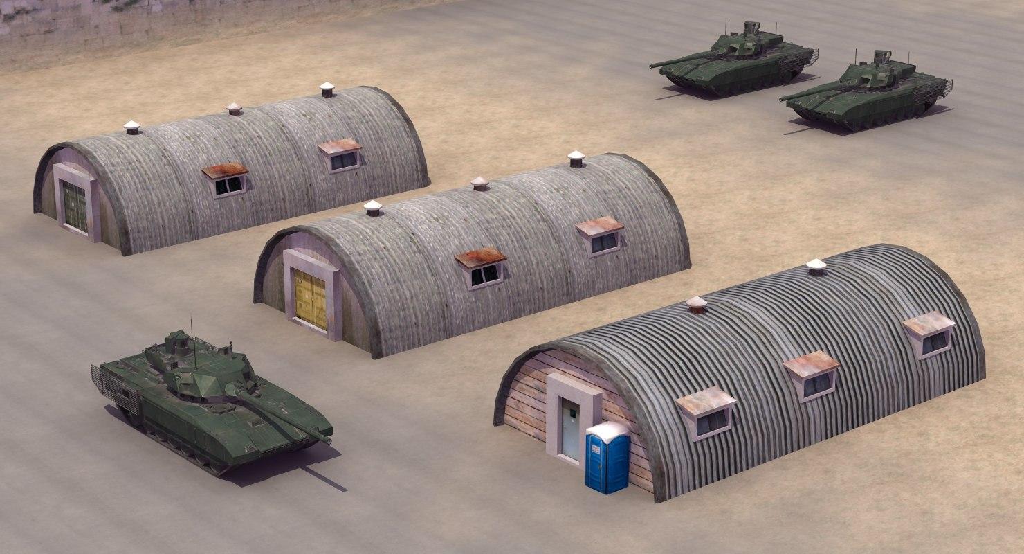 barrack huts 3D