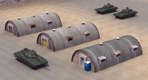 barrack huts 3D