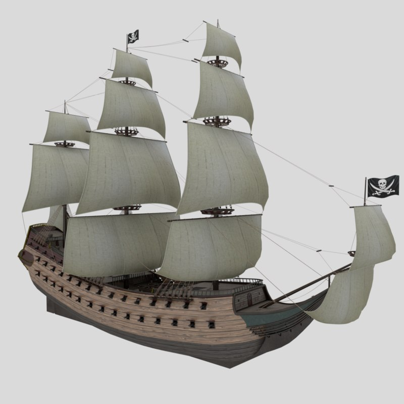 Pirate Ship 3d Models For Download Turbosquid