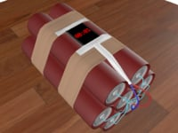 3D dynamite bomb smartphone activated model