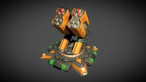 3D sci fi missile tower model