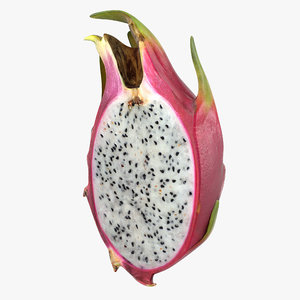 3D half red dragon fruit