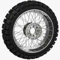 3D rear motorcycle wheel