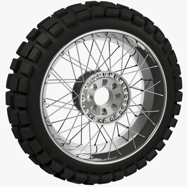 3D rear motorcycle wheel