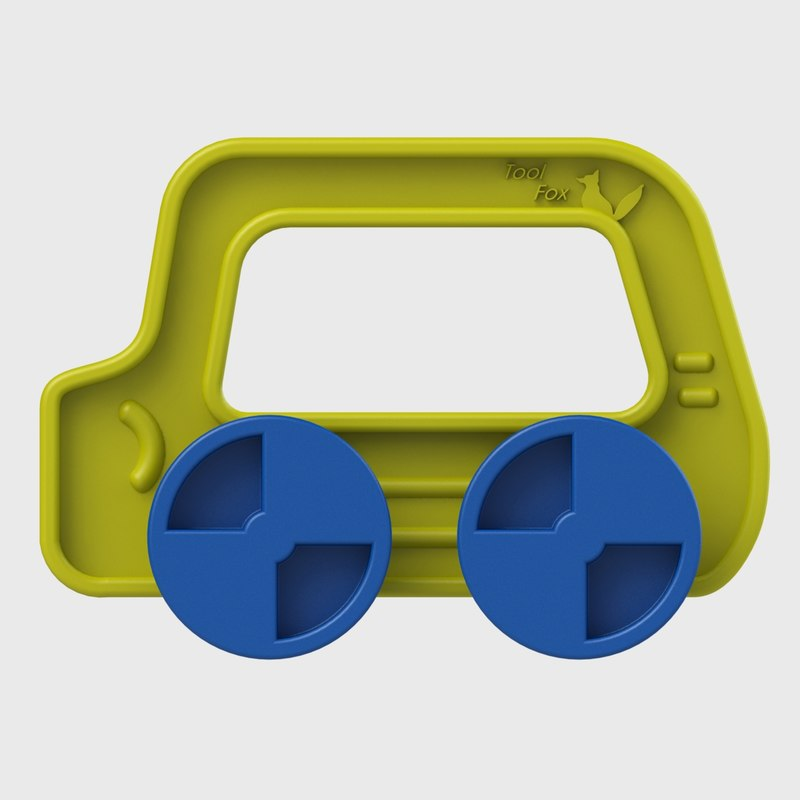 toy yellow-blue car 3D