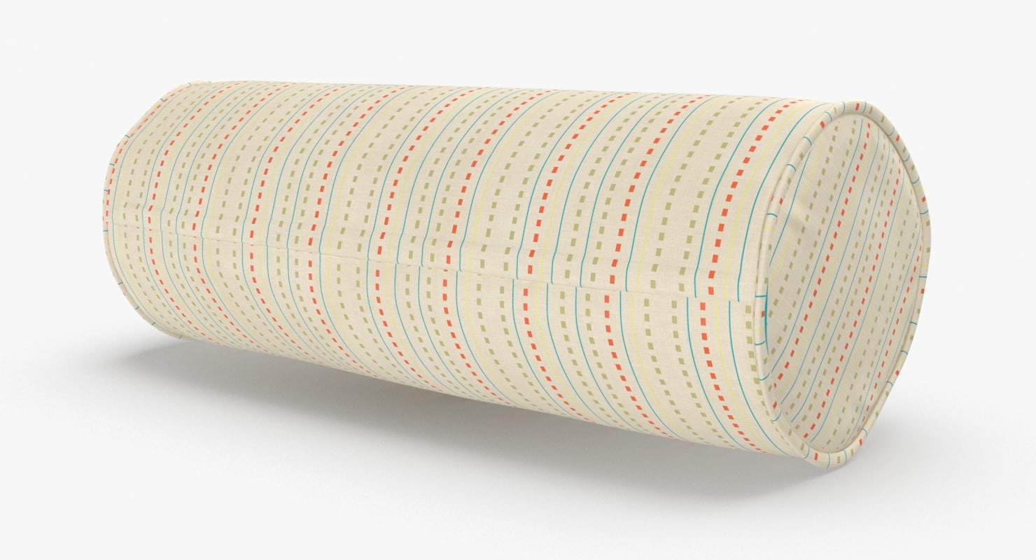 bolster-cushion-03---white-with-pattern 3D model