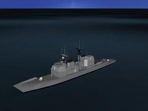 3D ticonderoga cruiser aegis model