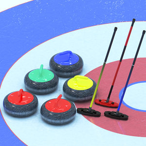 curling stones brooms 3D