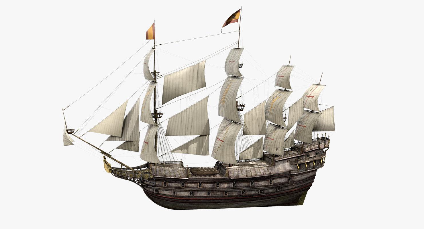galeon old historical sail ship 3D
