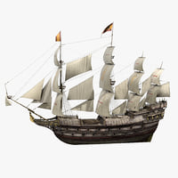 Galeon Old Historical Sail Ship 3D Model