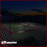 3D amater football soccer arena model