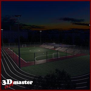 3D amater football soccer arena model