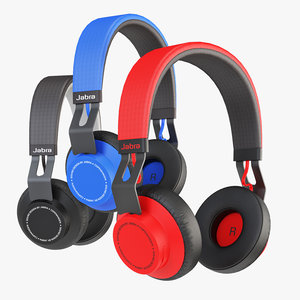 headphones red blue 3D model