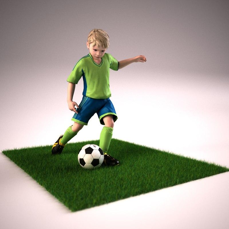 boy soccer player rigged model