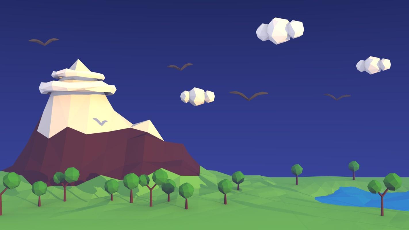 3D model low-poly mountain landscape