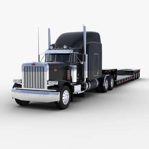 3D model lowboy semi-trailer truck v2