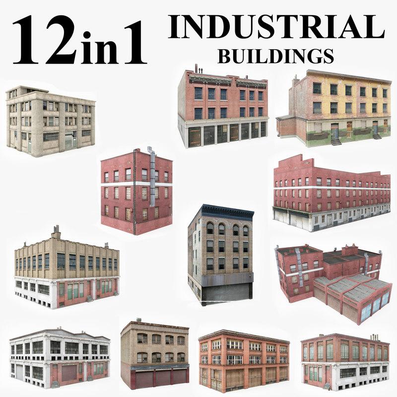 12 industrial buildings 3D model