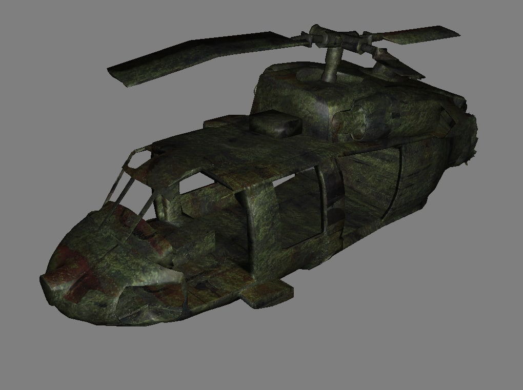 3D helicopter wrecked model