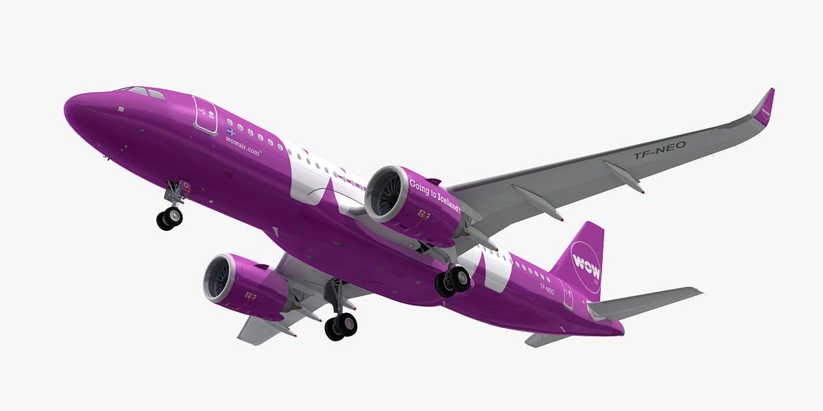airbus a320neo wow air 3D model