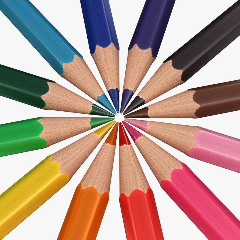 3D realistic colored pencils pose model