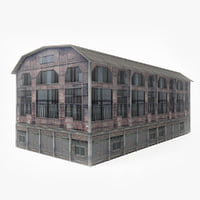 3D old abandoned warehouse model