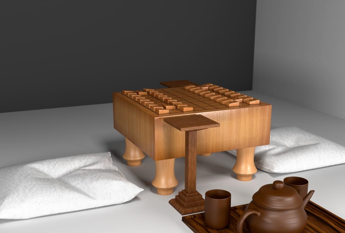 3D set playing shogi table