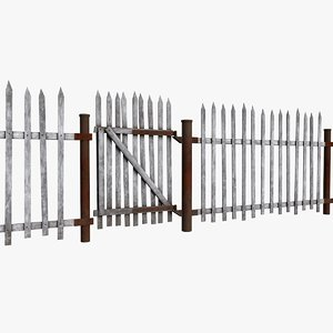 3D old gate fence model