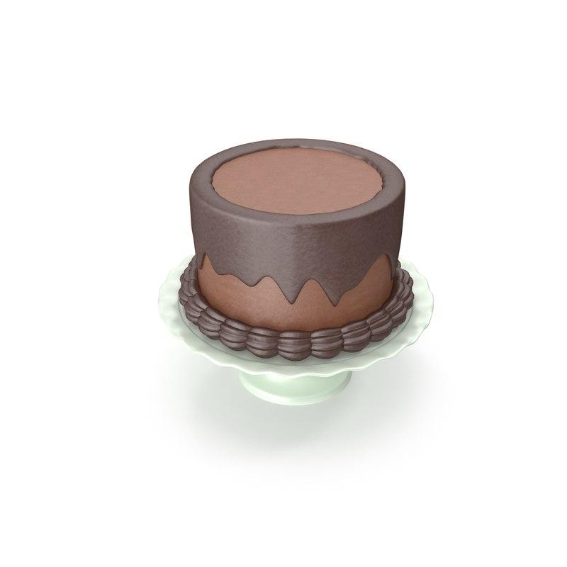 3D cartoon chocolate cake model